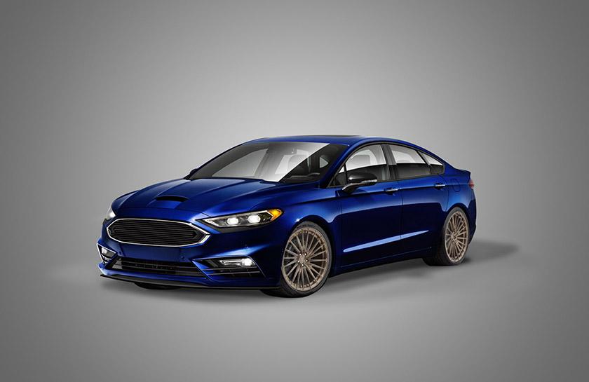 8. آخرین خودروی فوردی که در این مقاله به آن میپردازیم، خودروی فورد فیوژن آبی پررنگی است که موتوری مجهز به 2 توربوشارژر را در زیر درِ موتور دست ساز فیبر کربنی خود جای داده است. با وجود لبه زیبای پایینی سپر جلو و همراه با رنگ چشم نواز خود و بهبود قابلیت های آئرودینامیکی این خودرو، هنوز هم امیدی به رقابت با اسب های تقویت شده موستانگ توسط این خودرو نمی رود.