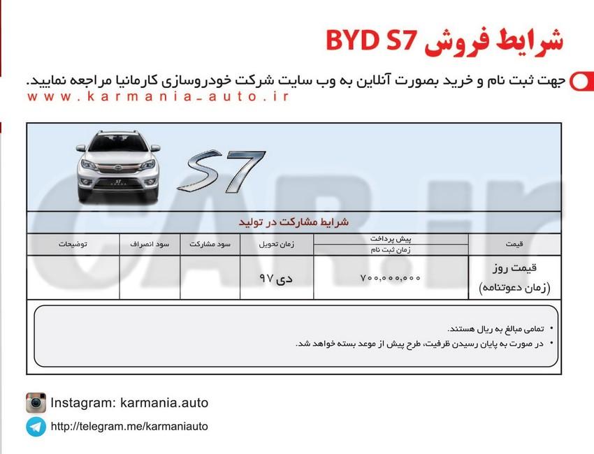 اعلام شرایط فروش ویژه خودروی جدید BYD S7