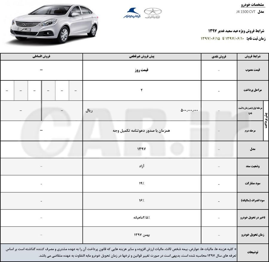 شرایط فروش محصولات کرمان موتور ویژه عید سعید غدیر ویژه خودرو های جک s3 , s5 , j4