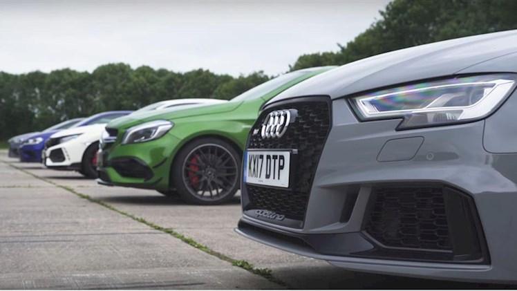 درگ و رولینگ آئودی RS3 و AMG A45 و هوندا سیویک R و فولکس واگن  2018R